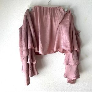 4SI3NNA Pink Off the shoulder Crop Ruffle Sleeve